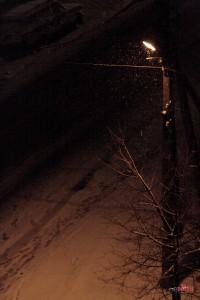 Фонарь, снег, ночь, Липецк